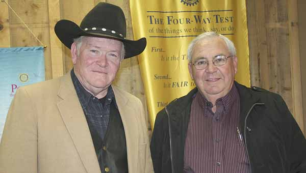 Ed Whatley, a retired promoter with the Alabama Cattlemen's Association, was the guest speaker at the Brundidge Rotary Club Wednesday. His is pictured with program host, Johnny Garrett, right.