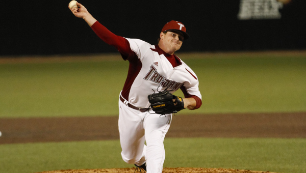 Troy's Will Starling (22) throws a pitch in the Trojans win over Florida A&M on Friday. (Photo/Joshua Thurston, Troy University)