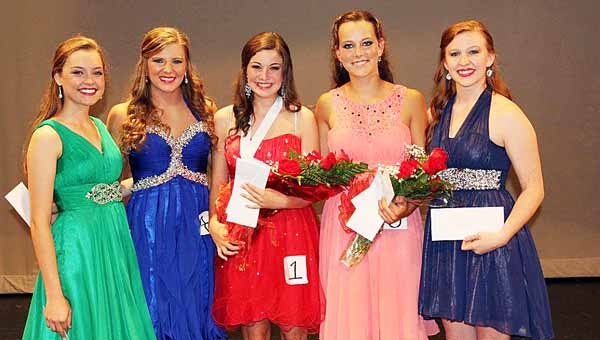 The Pike County Distinguished Young Women competition was held Saturday evening in Troy. Pictured are contestants Robbie Caulk and Mackenzie Johnson, winner Caylee Sanders, first runner-up Lynze Price and contestant Carly Smith.