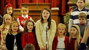 Kids sing during the Covenant Christian School Christmas Program in Troy, Ala., Tuesday, Dec. 16, 2014. MESSENGER PHOTO/THOMAS GRANING