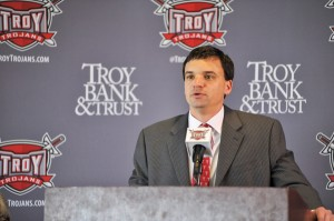 Messenger Photo/Joey Meredith New Troy head football coach Neal Brown address the media at his introductory press conference on Dec. 1.