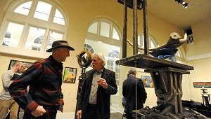 Larry Percy and Ted Metz talk during an Art Talk at the Johnson Center for the Arts. MESSENGER PHOTO/THOMAS GRANING