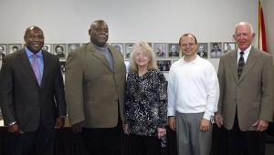 The Pike County Board of Education members were recognized for their dedication and commitment to the children of Pike County at a reception in their honor prior to the board's regular meeting Monday. January is School Board Recognition Month and Pike County School Superintendent Dr. Mark Bazzell said his board is worthy of recognition every month. Pictured from left, Dr. Clint Foster, Earnest Green, Linda Steed, Dr. Greg Price and Wyman Botts. Steed was also recognized for 30 years of service to the board. MESSENGER PHOTO/JAINE TREADWELL
