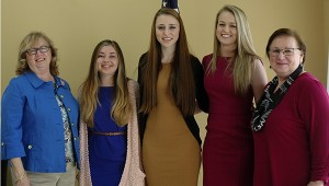 The Oliver Wiley Chapter DAR recognized the 2015 DAR Good Citizens nominees at its Wednesday meeting. Pictured from left, Mimi Dorrill, DAR regent, Lauren Post, Charles Henderson High School; BreAnna Sewell, Pike County High School; Madison Gilmore, Pike Liberal Arts School; and Dr. Jean Laliberte, vice-regent.  Gilmore was the winner of the DAR Good Citizens Award. Not pictured, Frances Elizabeth Warrick, Goshen High School. MESSENGER PHOTO/JAINE TREADWELL
