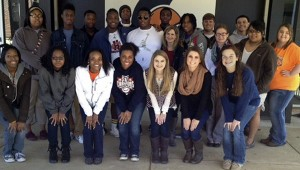 """The Charles Henderson High School FBLA group held a send-off party for Jay Marshall as he was leaving to go to school AIDB. Pictured, front row from left, Halley Watson, Pearl Hargray, Jylexus Williams, Ashley Davis, Lexi Sanders, Alex Jackson and Sidney Armstrong. Back row, Adriana Pennington, DeMarkus Siler, Lorenzo Pennington, Stephon Moore, Nick Lewis, Jacquerean """"Jay"""" Marshall, Kordel Anderson, Jennifer Sanders, Jade Jackson, Charlie Tisdale, Melissa Morris, Devan Suddith, Desiree Stewart, Susan Sapp."""