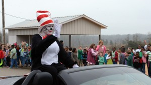 The Cat in the Hat arrived at GES in a convertible to celebrate Dr. Seuss' birthday with the students.