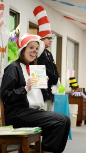 """Guest reader, Christy Wilson, compliance officer at First National Bank of Brundidge, reads """"The Foot Book"""" to the students at PLAS, with special guest, Brundidge Mayor Jimmy Ramage."""