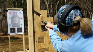 Submitted photo Susan Newland, a student at Shady Grove Tatical, learned how to work angles while acquiring a safe and proficient shooting sight. The defense classes are designed to help people make better use of their guns.