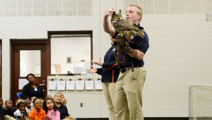 Trainers from the Southeaster Raptor Rehabilitation Center at Auburn University visited Troy Elementary School's first grade classes to teach them about the birds they showed, including owls, falcons and Auburn's mascot, the eagle.