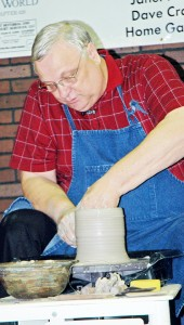 """Greg Aman """"throws"""" pottery while sharing """"The Potter's Sermon. Aman has """"thrown pottery for over 40 years."""