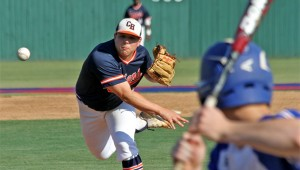 Senior pitcher Austin Ingram lets one go for the Trojans against St. Paul Episcopal School in the quarter-final round of the Class 5A state playoffs. MESSENGER PHOTO/DAN SMITH