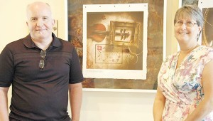 """Messenger photo/Jaine Treadwell Jerry Johnson and Diane Orlofsky, along with Pam Allen, will be featured at ArtTalk from 5 until 7 p.m. Thursday at the Johnson Center. The public is invited to attend the """"Joyous Exchange"""" among the artists."""