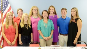 MESSENGER PHOTO/SCOTTIE BROWN Pictured from left are Kayla Dendy, Becky Baggett, Anna Adams, Eden Hipps, Martha Roby, Emmy Stevens, Adam Grice and Anna May.
