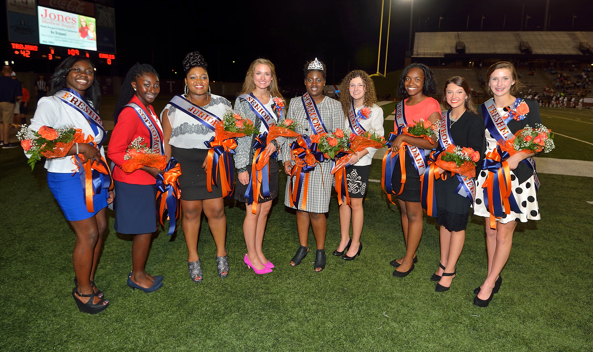Members of the 2015 CHHS Homecoming Court include, from left, Adasia Berry, Zuri Lampley, Jamiya Collins, Bailey Teal, Queen Stormi Wilson, Anna Shay Wasden, Diamond Jordan,, Nelsey Leverette and Tanner Moore. The court was presented during Friday's homecoming game at Veterans Memorial Stadium. (Photo/Thomas Graning)