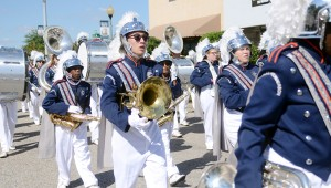 MESSENGER PHOTO/COURTNEY PATTERSON Charles Henderson High School marched in the annual CHHS Homecoming Parade Friday afternoon in Downtown Troy. The Blue Machine Marching Band filled The Square with music.