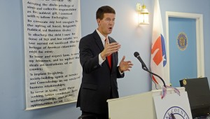 MESSENGER PHOTO/COURTNEY PATTERSON Alabama's Secretary of State John Merrill spoke to the Pike County Republican Women Wednesday about voter fraud and other issues.