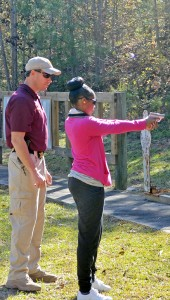 MESSENGER PHOTO/MIKE HENSLEY Women in Pike County had the opportunity to attend a gun safety class Saturday morning offered by the Pike County Sheriffs Department. The participants were given a safety class followed by the opportunity to be able to learn how to correctly hold and fire a gun.