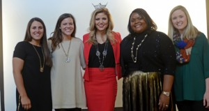 MESSENGER PHOTO/COURTNEY PATTERSON Pictured from left, are Taylor Smartt, Alex Ingram, Miss Alabama Meg McGuffin, TOni Deveridge Jones and Suzanne Ventress Tompkins. Female Factor recognized Smartt, Ingram, Jones and Tompkins for their outstanding achievements in he county.