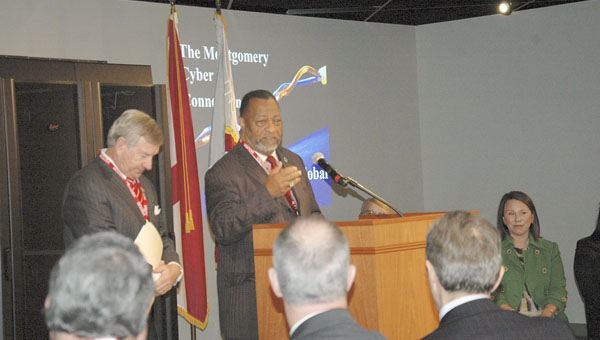 Messenger photo/Jaine Treadwell Elton Dean, chairman of the Montgomery County Commission, introduced Montgomery Mayor Todd Strange at Wednesday's new conference at the RSA Dexter Avenue Building. The conference was held to announce that Montgomery is the first city in Alabama with an Internet Exchange.
