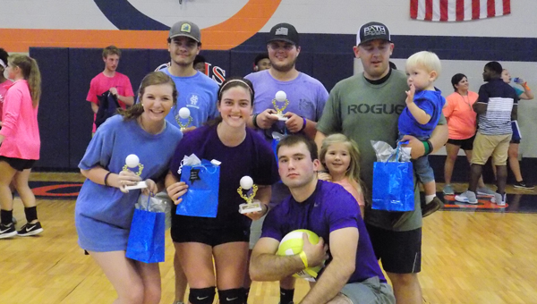 The Charles Henderson High School Future Business Leaders of America held a volleyball tournament on Thursday to have students and members of law enforcement interact. Above, the members of the purple team won the tournament. On the top row, from left to right, are Devan Suddith, Charles Tisdale and Sheriff's Deputy Russ Thomas. On the bottom row are Addyson Bryan, Lindsey Fox and Sheriff's Deputy Jacob Sanders.