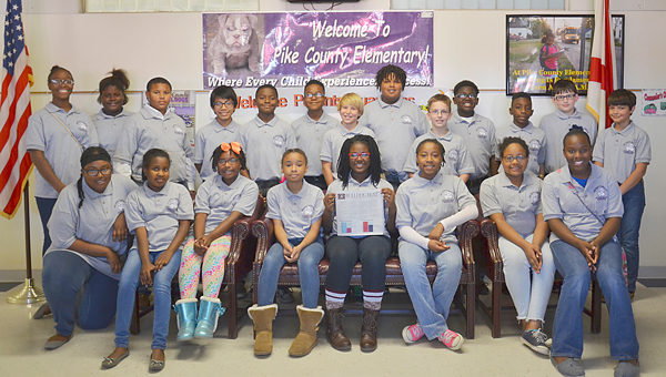 Member of the Bulldog Beat student newspaper staff are pictured in the PCES shirts that identify them as members of the news media. Congratulations were in order for a job well done on Issue 1 of the Bulldog Beat. Pictured are Nazir Lampley, Khloe Lampley, Takeyah Smith, Zariya Parks, Jada Duncan, Anaisha Borders, Kyron Wilkerson, Zavier Carter, Jordi Alatorre, Ja'Cynthia Wheeler, Omari Barrow, John Lott, Garrett Hatfield, Nakayla Pugh, Amiyah Townsend, Vintavious Siler, Whitney Gholsten, Patrick Countryman and Kemel Flowers.
