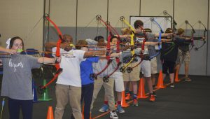 Photo/mike hensley On Tuesday, archers from Troy and Pike County participated in the Troy 3-D Archery Tournament at Troy Elementary School. Will Templin and Abbie Barron won the overal tournament championship.