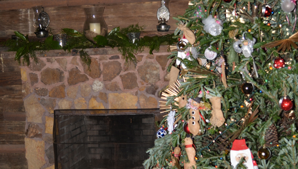 The cabins are decked out for the Ole Time Christmas event at the Pioneer Museum of Alabama.