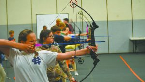 Messenger Photo/mike hensley Troy Elementary School hosted the Trojan 3-D Archery Christmas Classic on Thursday evening.