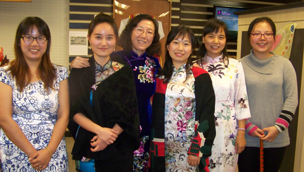 Representatives of the Confucius Institute were among the speakers and guest performers at the recent meeting ot the Troy Music Study Club. They included, from left, Wenjuan Cheng (Gloria), Lili Hu (Sara), Lin Cao, Wanjun Lu, Zhihong An and Yuying Zeng.
