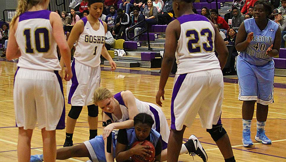 Photo/april brown The Goshen Eagles boys and girls basketball teams swept Calhoun in a pair of wire-to-wire finishes on Thursday night. the girls began the night with a 48-47 win and the boys capped off the night with a 63-58 win in overtime.