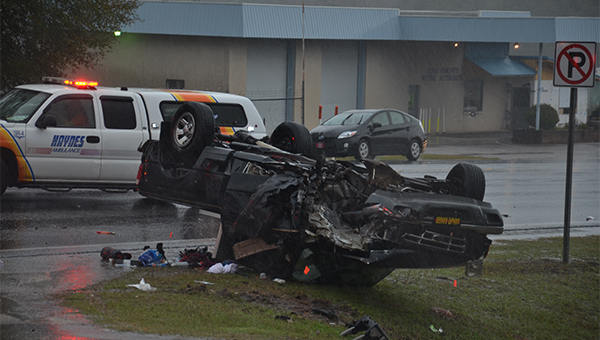 A Ford Ranger involved in the wreck overturned and went off the roadway.