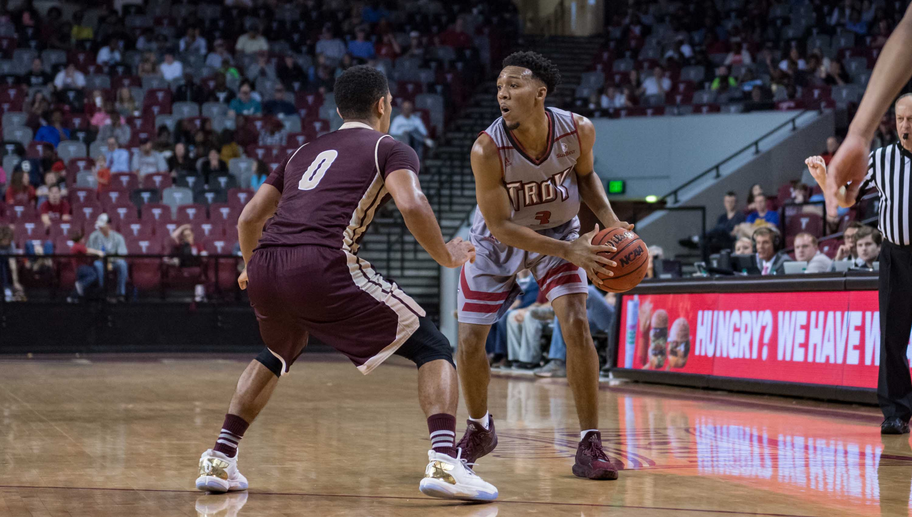 Photo/troy athletics Wesley Person tries to set up the offense against Texas State on Monday night. Person and the Trojans comeback effort fell short in a 75-71 loss to the Bobcats.