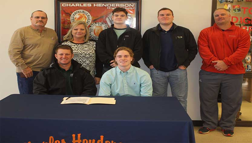 Messenger Photo/ Dan Smith Charles Henderson had its third baseball player in as many weeks sign a college scholarship on Monday morning when Carson Tucker signed with Enterprise State.
