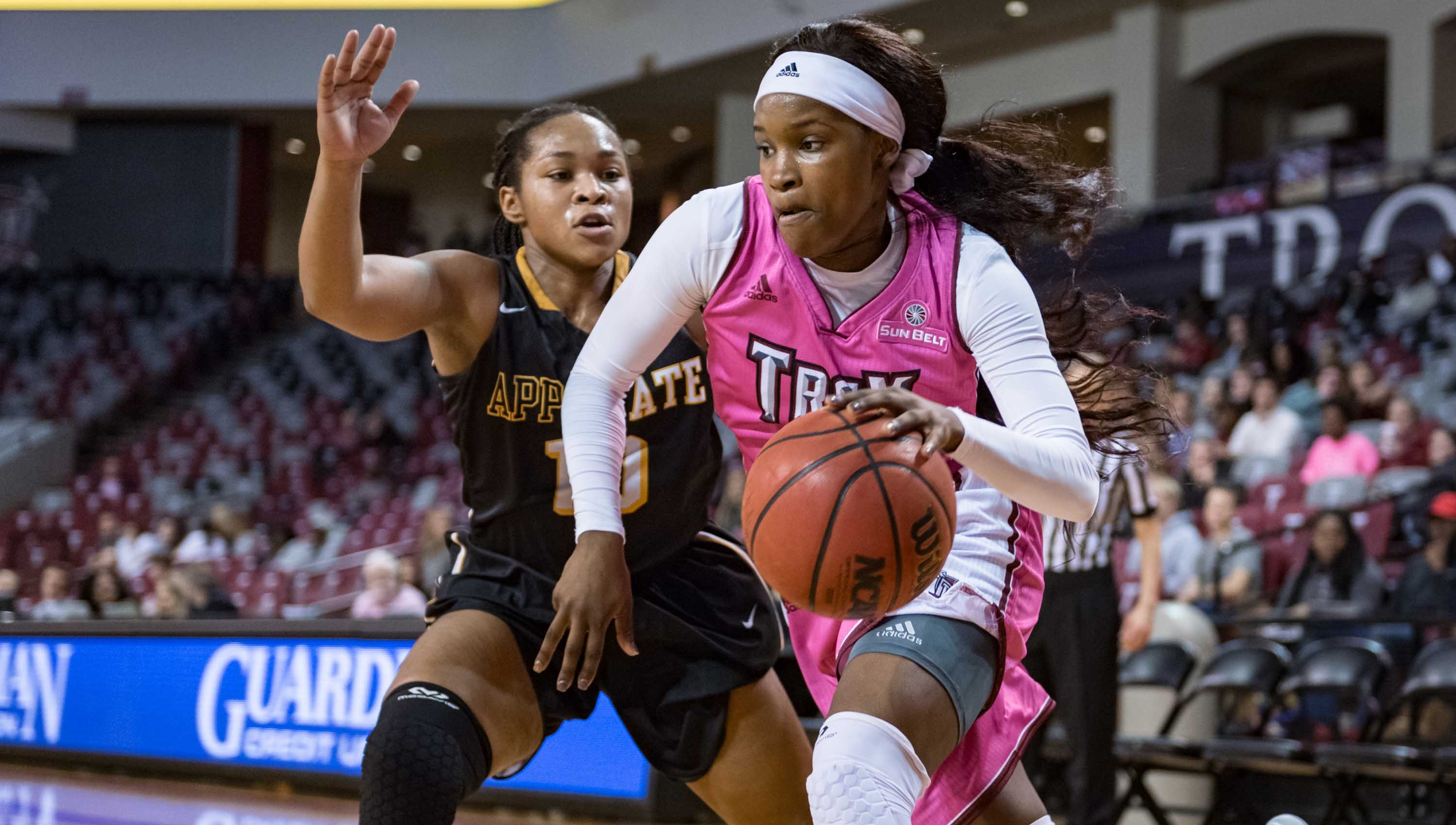 submitted Photo/chris davis Jayla Chills scored a career high 27 points in Troy's 86-77 win over the Appalachian State Mountaineers on Thursday night.