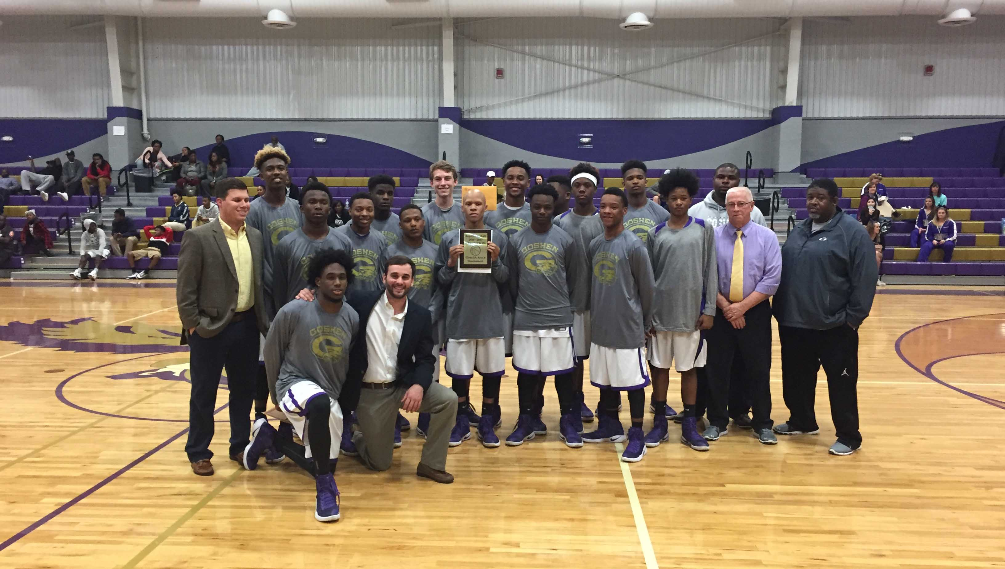 Photo/mike hensley The Goshen Eagles claimed the Class 2A Area 6 championship with a 54-50 win over the Calhoun Tigers on Thursday night. The Eagles will host the sub-regional tournament beginnin on Tuesday at 6 p.m.